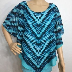 Dress Barn Turquoise/Blue V Hem Top